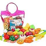 32個おままごとセット ソニ ごっこ遊び 収納バッグ 切れる野菜 ケーキ 果物 二人遊びセット 知育玩具 子どもの誕生日プレゼント 入園お祝い