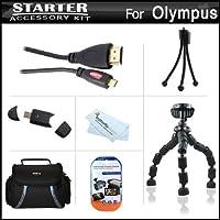 スターターのアクセサリーキットOlympus om-d om - d e - m5デジタルカメラはデラックス携帯ケース+ 10柔軟な三脚+マイクロHDMIケーブル+ USB High Speed 2.0SDカードリーダー+ LCDスクリーンプロテクター+ミニ卓上三脚+マイクロファイバークリーニングクロス