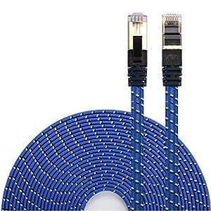 LANケーブル CAT7準拠 [Danyee®一年間保証] インターネットケーブル 結束マジックテープ付き 長さ1M 3M 5M 8M 10M 20M (1M, ブルー)