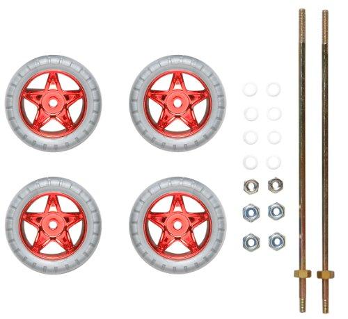 ミニ四駆限定 スーパーX ナット止め 小径レッドメッキホイール & バレルタイヤ (低摩擦ワッシャー付) 94730