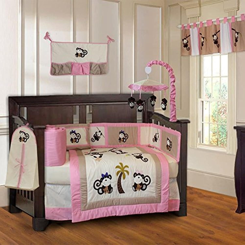 BabyFad Pink Monkey 10 Piece Baby Crib Bedding Set by BabyFad