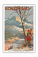 マウント Kosciuszko、オーストラリア - スキー - ビンテージな世界旅行のポスター によって作成された Geo. E. (ジョージ・アーネスト) アキンヘッド c.1925 - アートポスター - 31cm x 46cm