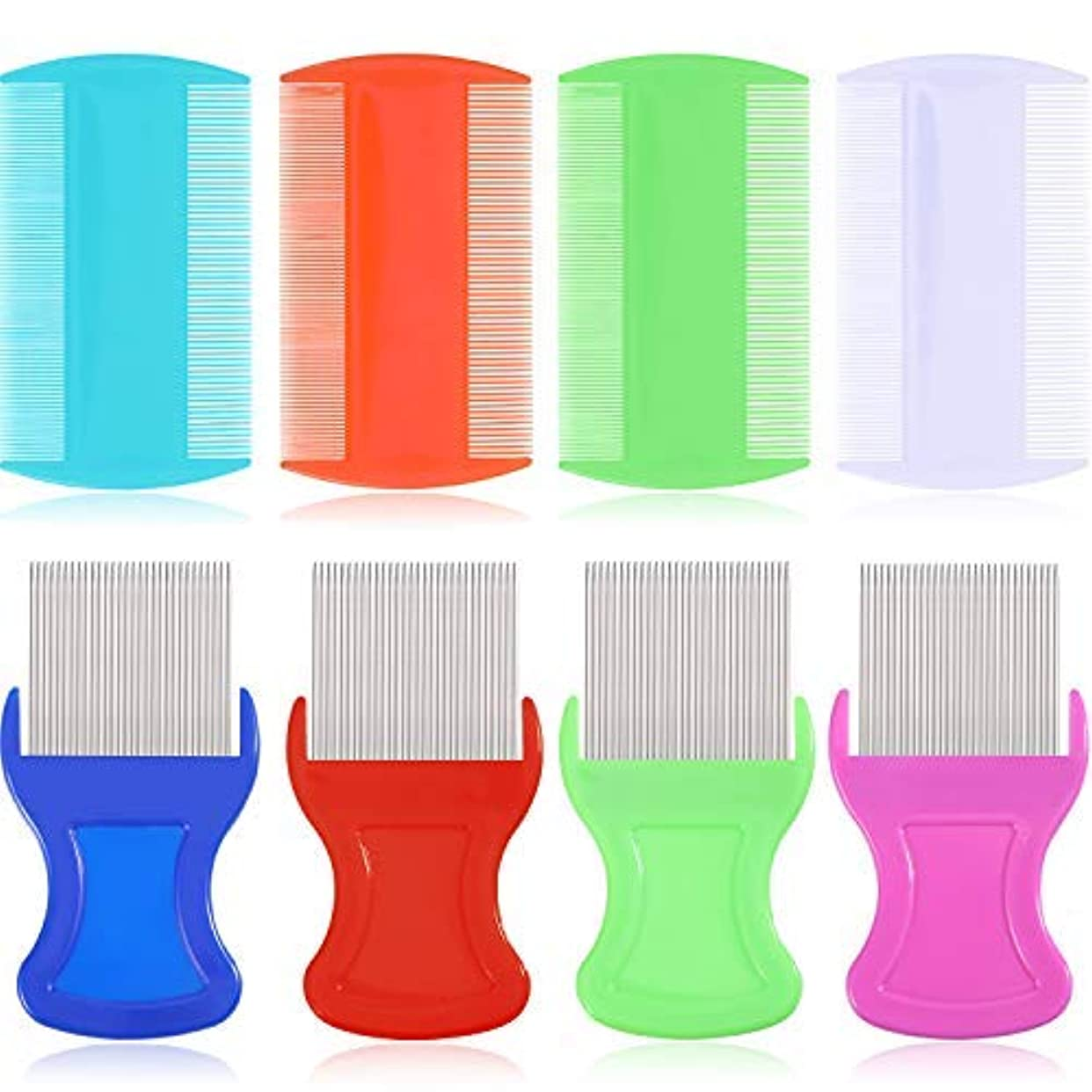 犯人知覚的ベーカリー8 Pieces Flea Lice Comb Lice Removal Combs Include 4 Pieces Nit Remover with Metal Teeth and 4 Pieces Double Sided...