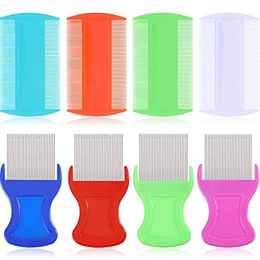 テクニカル新年乱気流8 Pieces Flea Lice Comb Lice Removal Combs Include 4 Pieces Nit Remover with Metal Teeth and 4 Pieces Double Sided...