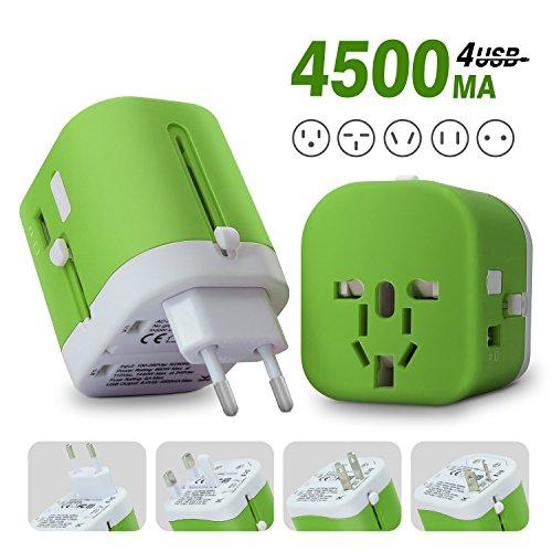 海外旅行用 変換プラグ 旅行充電器 4USBポート付 マルチコンセント USB充電器 スマホ充電 急...