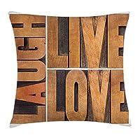 ライブ笑い愛枕クッションカバー、人生メッセージインスピレーションデジタルグラフィック、装飾的な正方形のアクセントのピローケース付きマクロ書道、、キャラメルアンバー 50X50 CM