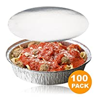 (100, 100 Pack) - Round 23cm Disposable Aluminium Foil Pan Take Out Food Containers with Flat Board Lids, Steam Table Baking Pans, 1360ml, 1.3kg, 1.4l [100 Pack]