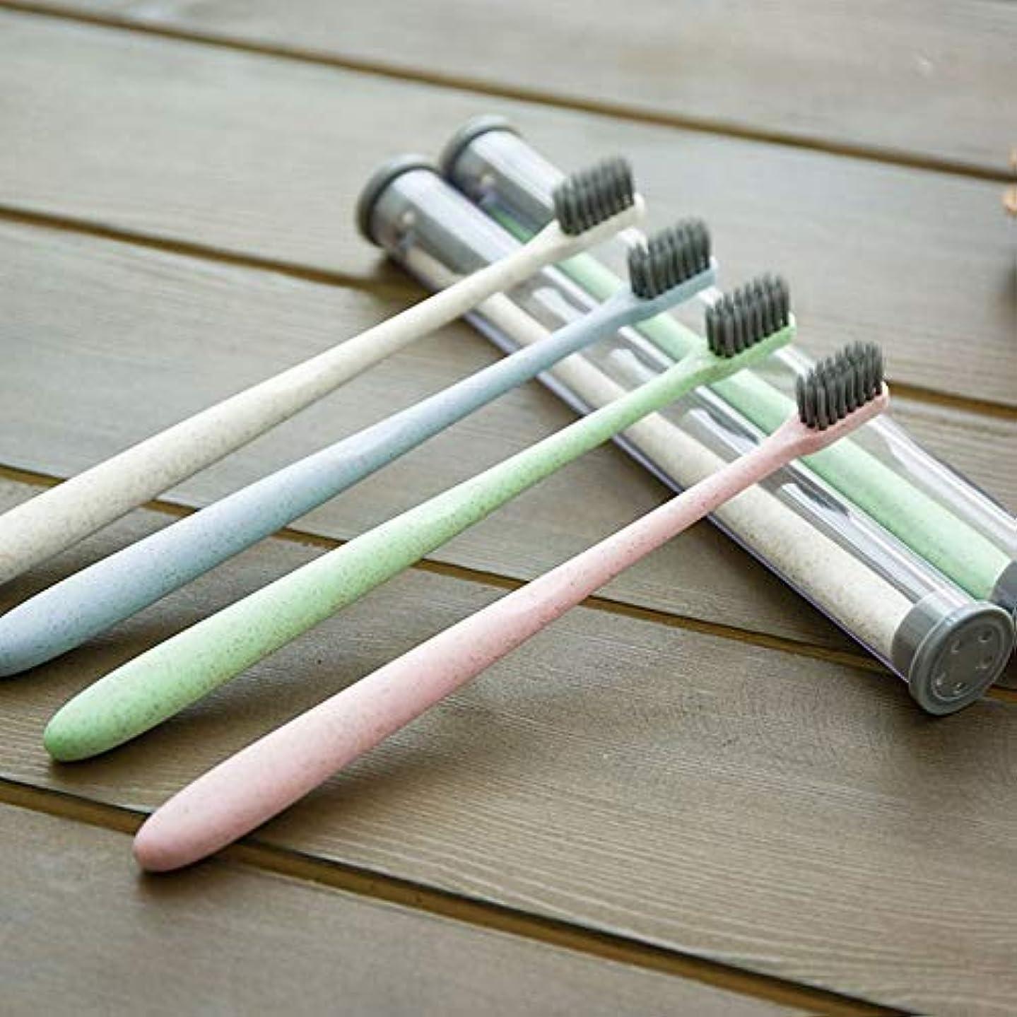 異議取り付け染色ホームトラベル大人小麦わら歯ブラシポータブルソフト歯ブラシクリーニング歯ガードツール収納ケース付き - グリーン