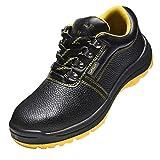 全7サイズ選べる 安全靴 作業靴 PUレザー 防滑 通気 耐磨耗 衝撃吸収 四季通用 - US 7.0