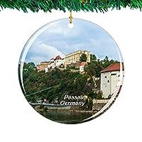 Weekino ドイツヴェステ城パッサウクリスマスオーナメントシティ旅行お土産コレクション両面 磁器2.85インチ ぶら下がっている木の装飾
