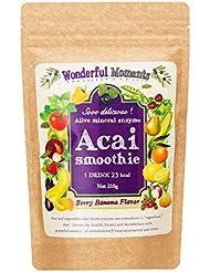【シェイカー付き】スムージー 酵素 アサイースムージー 乳酸菌 食物繊維 1杯23kcal 『アライブミネラルエンザイム アサイースムージー 210g』ベリーバナナ味