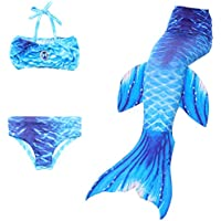 BESTYLING 3pcs Girl's Mermaid Tail, Colorful Swimmable Princess Swimwear Bikini Set for Swimming