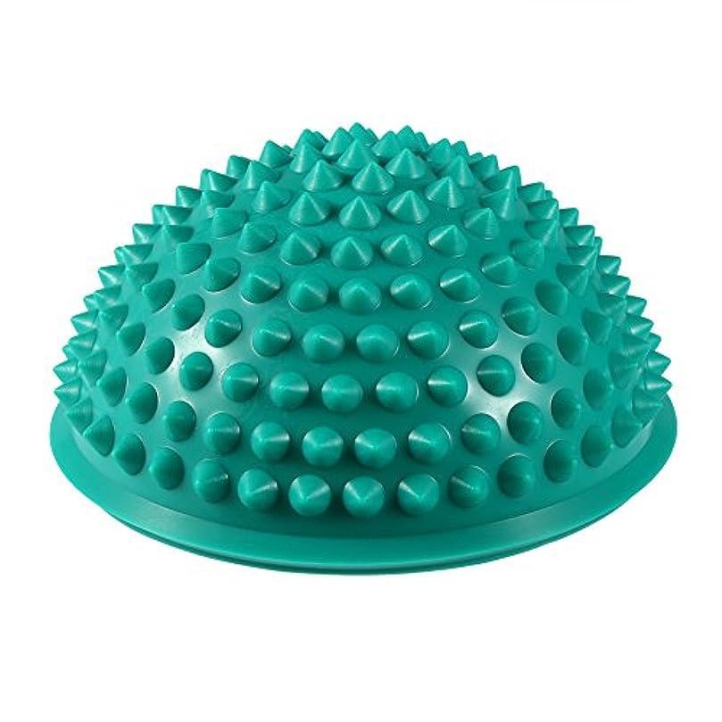 故障鼻貸すハーフラウンドPVCマッサージボールヨガボールフィットネスエクササイズジムマッサージ5色(グリーン)