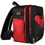 Sparta旅行ナイロンバックパックバッグ(レッド/ブラック) for Nikon Df fx-fomatデジタルSLRカメラ