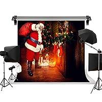 Kate 7x5ft/2.2x1.5m クリスマスの背景 サンタクロース撮影用 背景布 木製の装飾木製の暖炉 クリスマスアートファブリック写真の背景 洗濯可 綿 撮影補助用品 写真撮影用の背景幕 カスタマイズ可能様々な背景