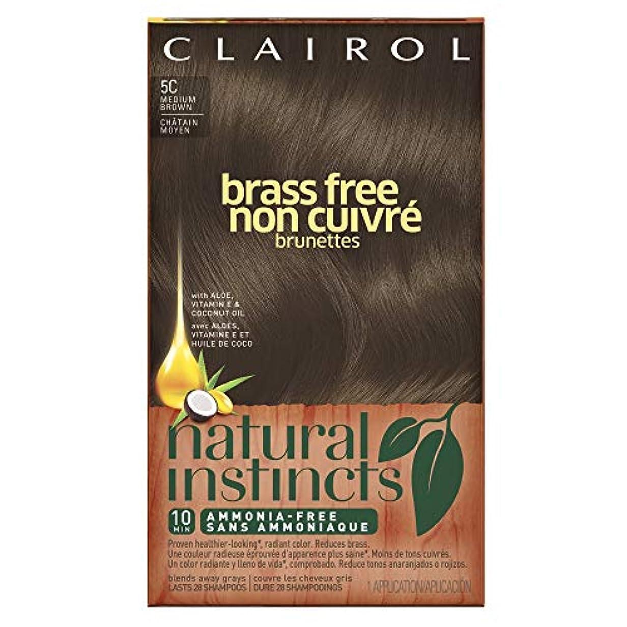 許容できるブラウズ粘性のClairol 自然本能真鍮無料ヘアカラー、ミディアムブラウン[5C] 1 Eaは(6パック) 6パック 褐色