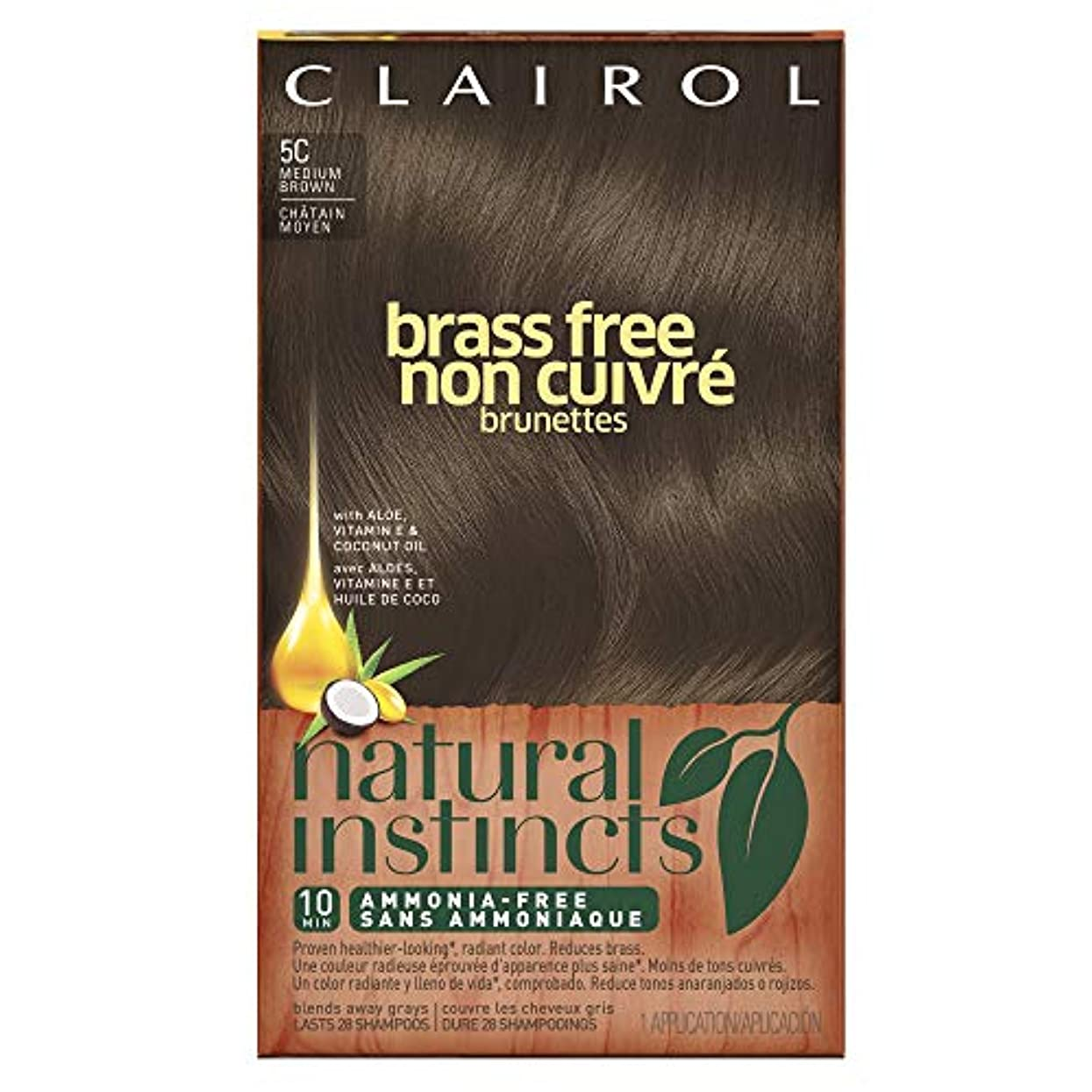Clairol 自然本能真鍮無料ヘアカラー、ミディアムブラウン[5C] 1 Eaは(6パック) 6パック 褐色