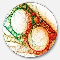 """DesignArt mt7933-c11レッドグリーンメタルConstructions抽象デジタルアート円壁アート、11"""" x 11インチ、グリーン"""