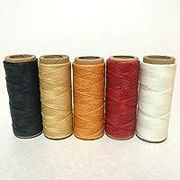 糸引き ロウ 蝋引き 手縫い 紐 レザークラフト 入門 糸 50m 太さ 0.8mm スタンダードカラー5色 セット (赤 白 黒 黄色 ベージュ)