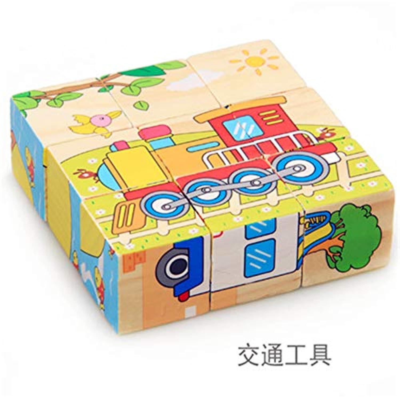 ptk12 s6 9ピース/セット 3D木製パズルおもちゃ 動物模型 教育玩具 6面動物柄 子供用ヘキサ形ジグソーパズル