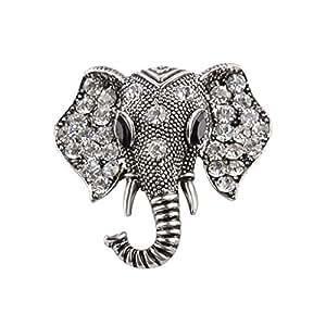 Lovoski アンティーク ヴィンテージ ラインストーン 象のピン ブローチ ユニセックス ジュエリー シルバー