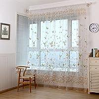 QIN レースカーテン おしゃれ ボタニカル 植物柄 蝶の紋柄 ポリエステル製 良い透け感 自然の風を通し 明るく 薄いカーテン 気持ちいい 安らぎを感じる風合い 新生活応援 取り外し簡単 1枚売り 100x200 選べる2色 グリーン
