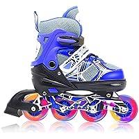 インラインスケート 子供用 ジュニア ローラースケート サイズ調整可能 光るタイヤ ローラーブレード 女の子 男の子 初心者向け Inline skate おもちゃ 2カラーから選べる