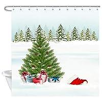 Jocarクリスマスシャワーカーテン、クリスマスツリープレゼントとサンタ帽子浴室カーテンと冬の背景浴室 防水 防カビ加工 洗面所 間仕切り 目隠し用 取付簡単