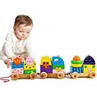 Zah Wooden Train Toys for Kidsビルディングブロック動物図形玩具幼児学習教育赤ちゃんPull Toy Stacking Games for Boys Girls ( 22pcs)