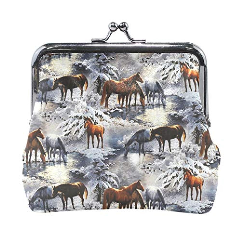 がま口 小銭入れ 財布 冬の馬 コインケース レザー製 丸形 軽量 人気 おしゃれ プレゼント ギフト 雑貨