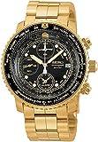 セイコー Mens Watch Seiko SNA414 Gold Tone 200m Flight Chronograph Black Dial 男性 メンズ 腕時計 【並行輸入品】