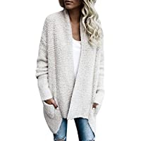 Nulibennas Casual Long Sleeve Drape Shawl Open Front Knitted Cardigan Sweater with Pocket