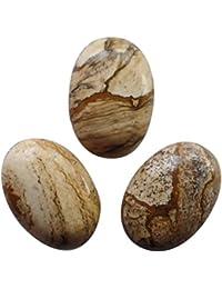 [yuteng] 5つセット ピクチャージャスパー 卵形 天然石 ルースストーン ペンダント ビーズ ネックレス リング