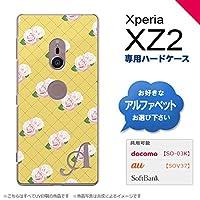 Xperia XZ2 SO-03K SOV37(エクスペリア XZ2) SO-03K SOV37 スマホケース カバー ハードケース 花柄・バラ(J) 黄 イニシャル対応 C nk-xz2-265ini-c
