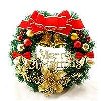 ウッドランドクリスマスリース、キラキラの飛散防止玉飾りやパインコーンとフロントドア用の伝統的なホリデーデコレーションクリスマス花輪 (Size : 50cm/19.6in)