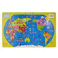 Dovewill 子供 35個セット 木製 ジグソーパズル 世界地図 地理 パズル ゲーム 玩具  早期教育 おもちゃ ギフト