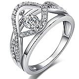 CZダイヤモンド リング 925シルバー リング レディース 指輪 ファッションリング ダンシングダイヤモンド リング キュービックジルコニアリング