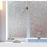窓ガラス防犯フィルム 目隠し シート 無接着剤 ホワイト 明るさはそのまま 静電で貼り付け (幅90CM×長さ200CM, カラー50)