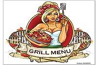 冷蔵庫用マグネット Fridge Magnet Nostalgic Fun Grill Menu