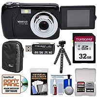Vivitar ViviCam vxx14自撮りデジタルカメラ(ブラック)と32GBカード+ケース+ Flex三脚+リーダー+キット