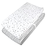American Baby Company Fitted Contoured Changing Table Pad Cover|100% Cotton Jersey Knit, Silver Black Arrow/Stripe (Pack of 2)