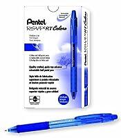 Pentel R.S.V.P. RT Colors New Retractable Ballpoint Pen Medium Line Blue Barrel Blue Ink Box of 12 (BK93CRC-C) [並行輸入品]
