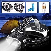億騰 新しい デュアルコアT6強力ヘッドライト USB充電ヘッドライト 2T6 LED 伸縮式ズームヘッドライト 夜釣り用ライト 防水ヘッドライト