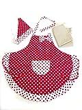 3world 女の子 エプロン ワンタッチ三角巾 収納袋 3点 セット SW791 水玉フリルレッド M