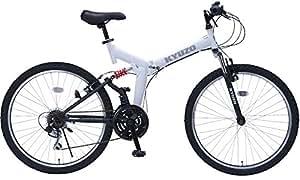 26インチ折りたたみマウンテンバイク 自転車の九蔵特注モデル シマノ製18段変速 グリップシフト フロントサスペンション リアサスペンション KYUZO KZ-104 (マットホワイト)