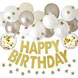 manaparty(マナパーティ)誕生日 飾り付け 風船 バルーン ガーランド デコレーション セット デコレーション manapa02 (グレーホワイト)