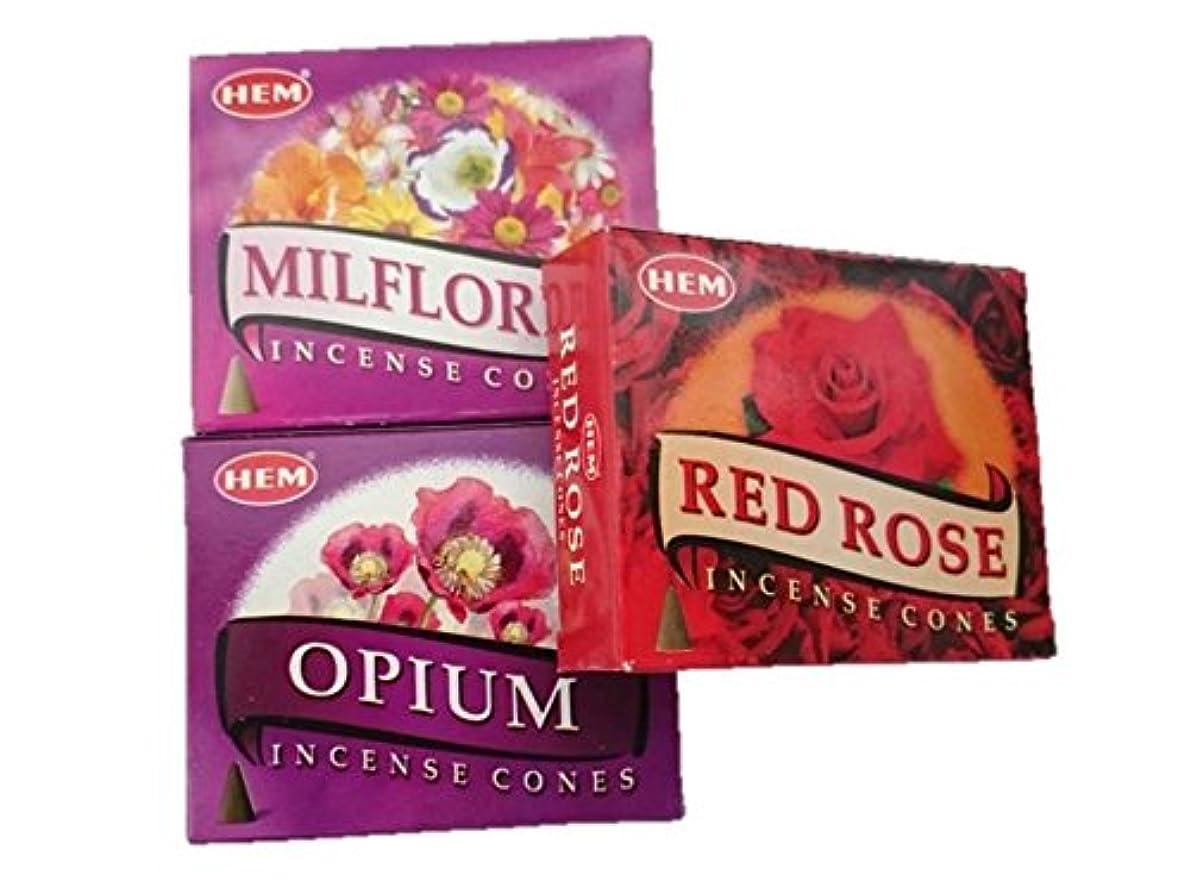 最近リビングルーム条約HEM(ヘム)お香コーン ミルフローレス?オピウム?レッドローズ コーン3個セット