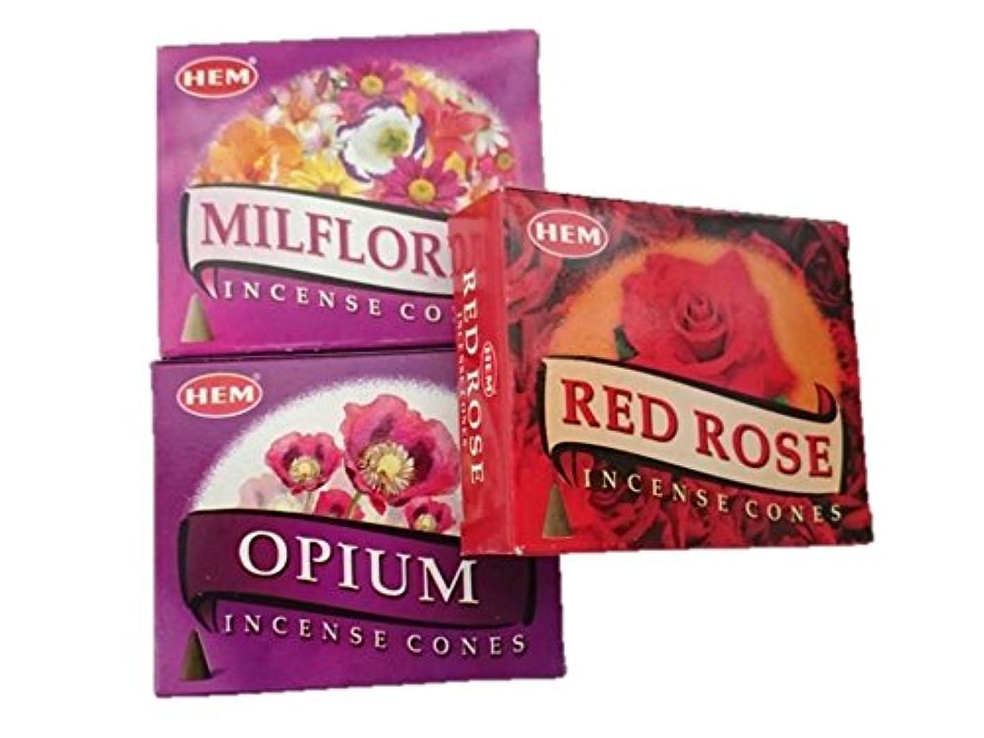 インフルエンザ実質的に簡単にHEM(ヘム)お香コーン ミルフローレス?オピウム?レッドローズ コーン3個セット