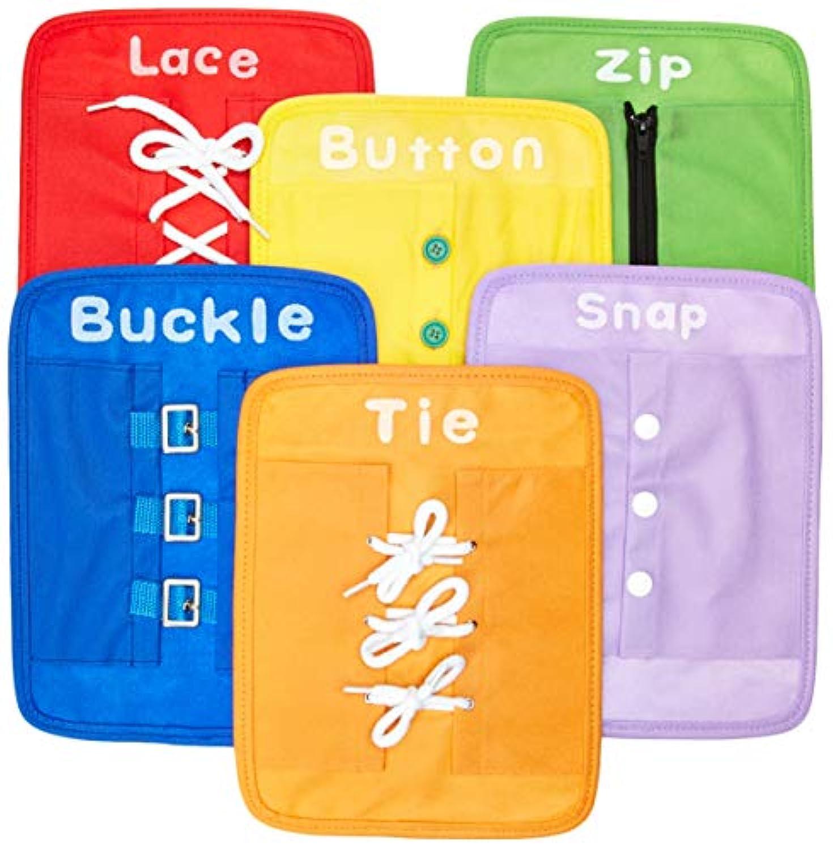 [Yoovi]Yoovi Early Learning Basic Life Skills Learn to Dress Boards Zip, Snap, Button, Buckle, Lace & Tie 6 pcs/set [並行輸入品]