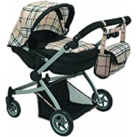 Babyboo Deluxe Twin Doll Pram/Stroller Beige Plaid & Black with Free Carriage Bag (Multi Function View All Photos) -